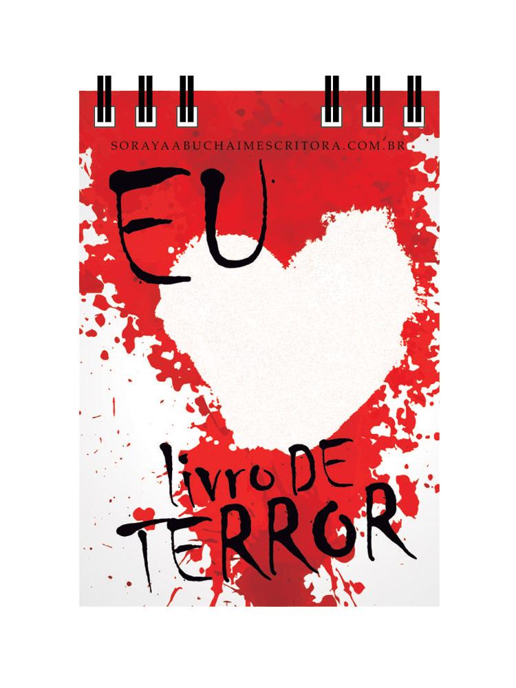 """bloquinhos 7x10 eu amo livro de terror 1 - Bloquinho """"Eu amo Livro de Terror"""""""